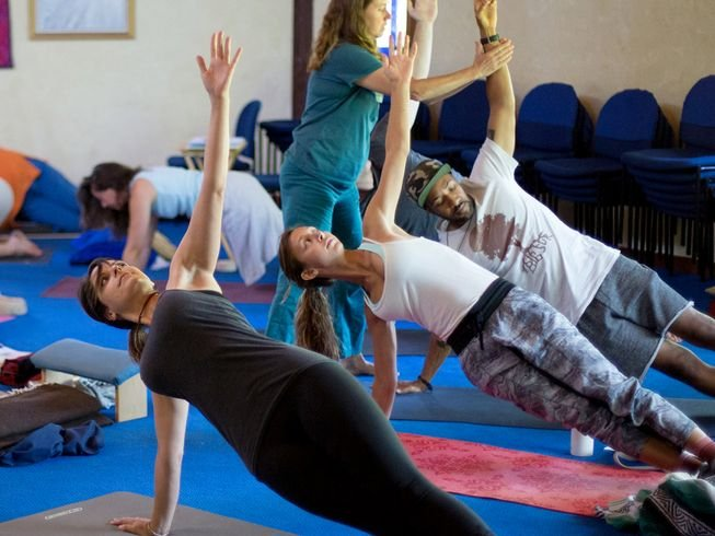 Students at 30-hour yoga teacher training in Nevada City, California USA