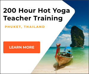 Banner ad for Hot Yoga Teacher Training in Thailand with picture of southern Thailand style beach and boat in Kata Beach