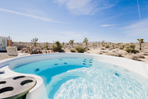 out hot tub jacuzzi at yoga retreat in Joshua Tree, CA