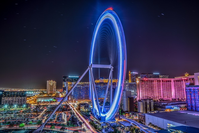 Night view with Vegas Strip lights scenic image of The high roller in Las Vegas for Cannabis with Yoga Retreat