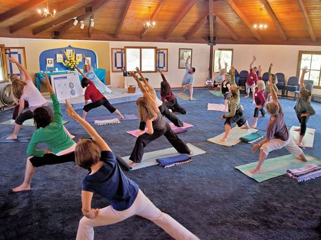 Yoga teacher training inside studio in Nevada City, California